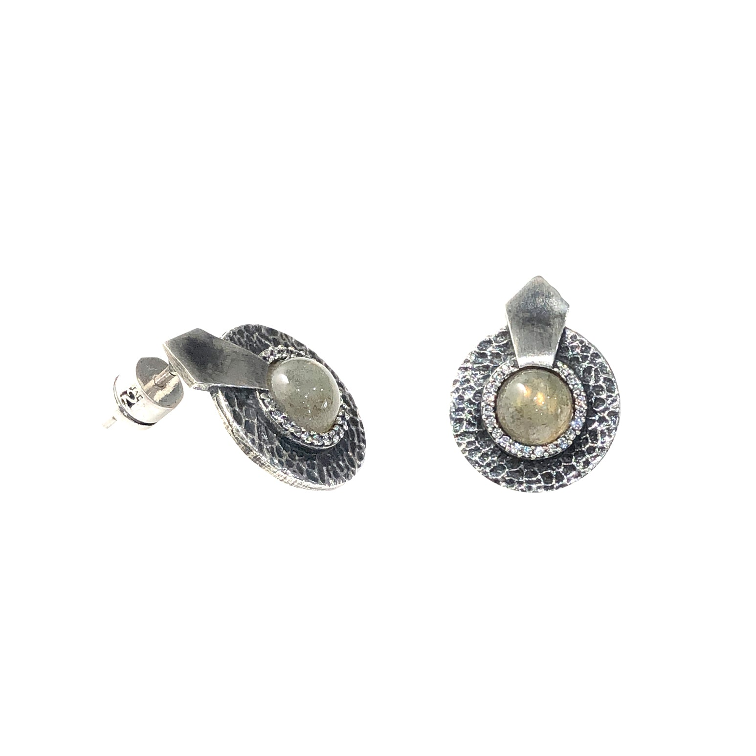 VINTAGE SILVER LABRADORITE HAMMERED MINI CIRCULAR SHIELD EARRINGS