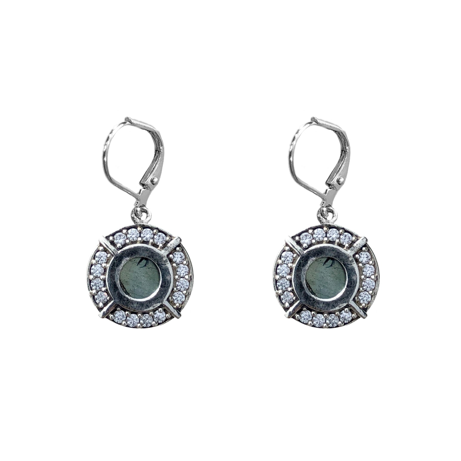 VINTAGE SILVER FRAME MINI LABRADORITE EARRINGS