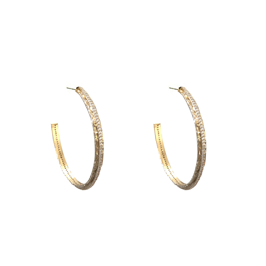 "2"" GOLD EGY CRYSTAL THIN HOOPS"