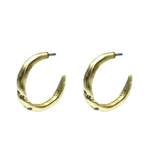 "GOLD THIN TWISTED 1"" CRYSTAL HOOPS"