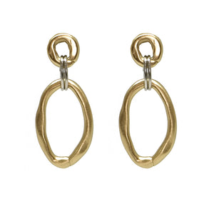 Gold Large and Small Link Connector Earrings
