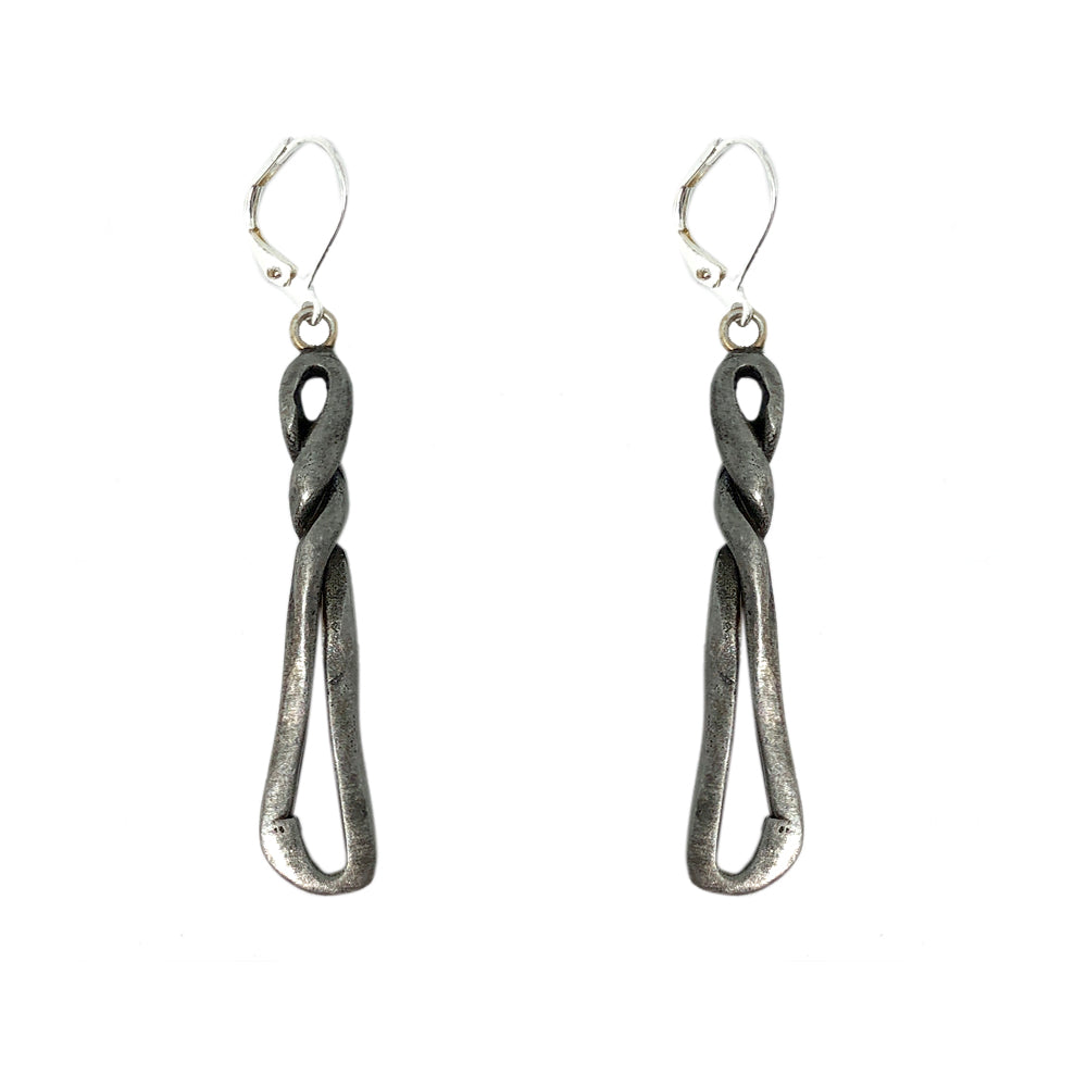 VINTAGE SILVER TWISTED DANGLE EARRINGS