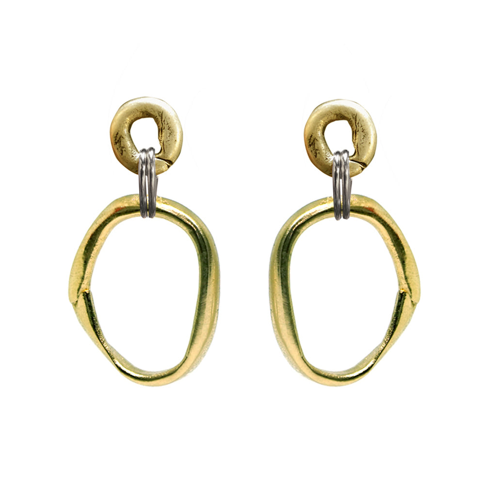 GOLD LARGE AND SMALL LOOP CONNECTOR EARRINGS