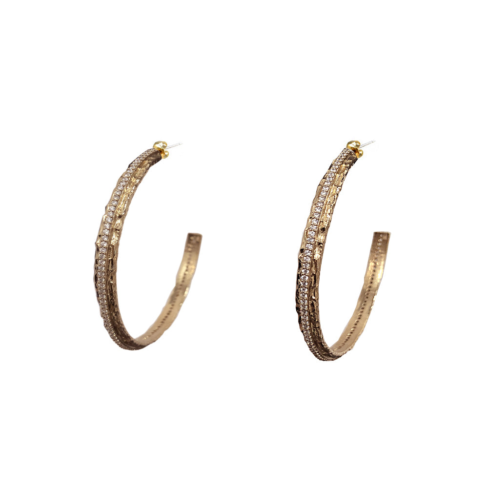 GOLD EGY CRYSTAL THIN HOOPS / 1.5""