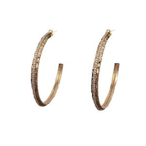 GOLD EGY CRYSTAL THIN HOOPS / 2""