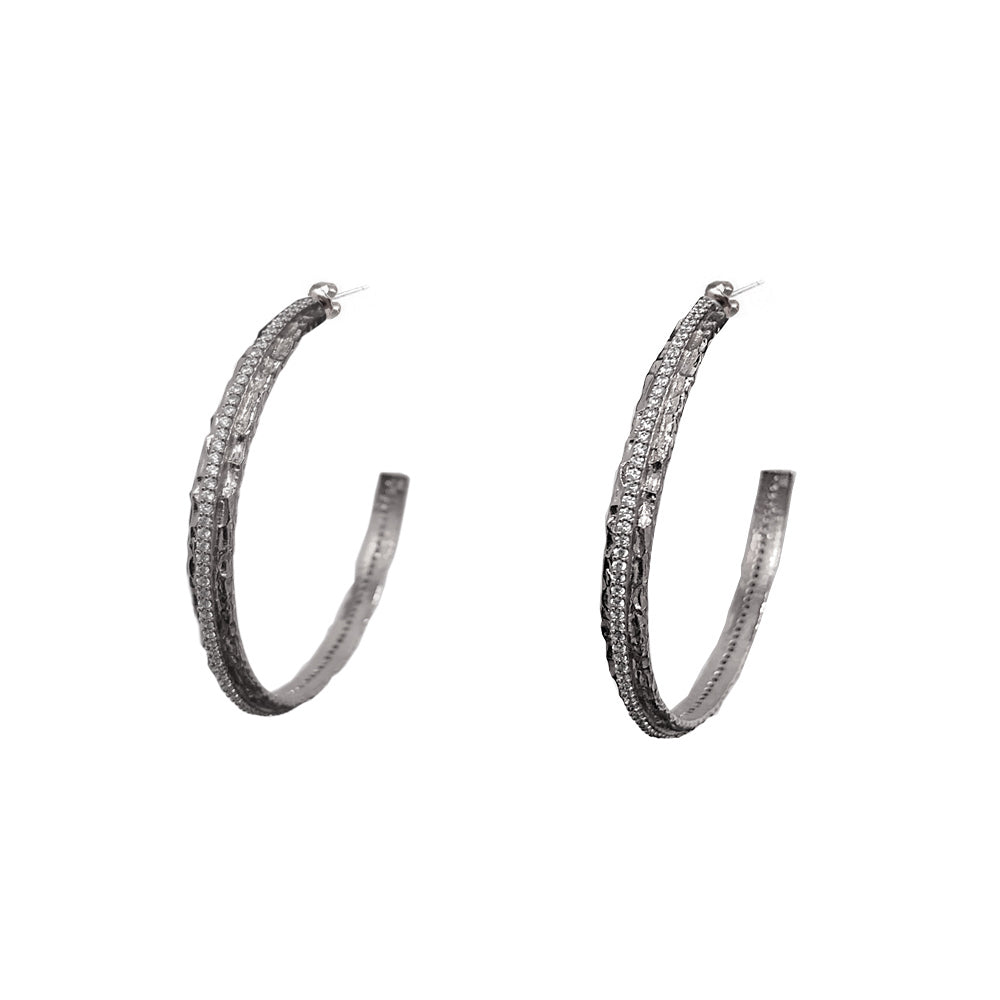 VINTAGE SILVER EGY CRYSTAL THIN HOOPS / 1.5""