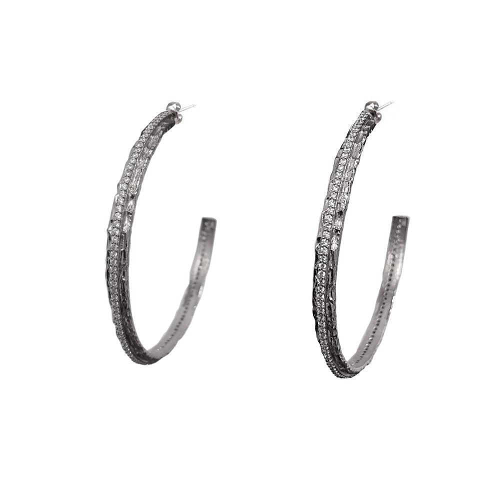 VINTAGE SILVER EGY CRYSTAL THIN HOOPS / 2""