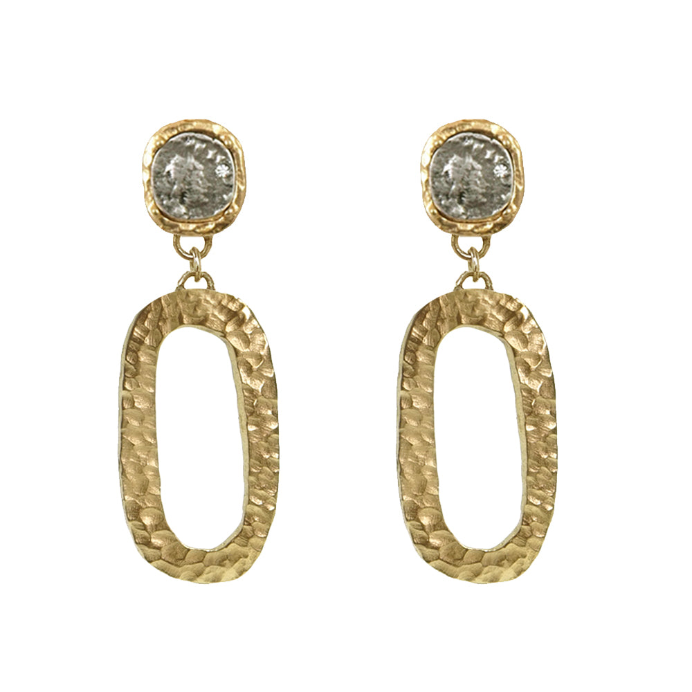 GOLD HAMMERED CATENA LINK & COIN EARRINGS