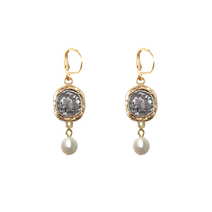 PAVIA GOLD COIN & PEARL EARRINGS