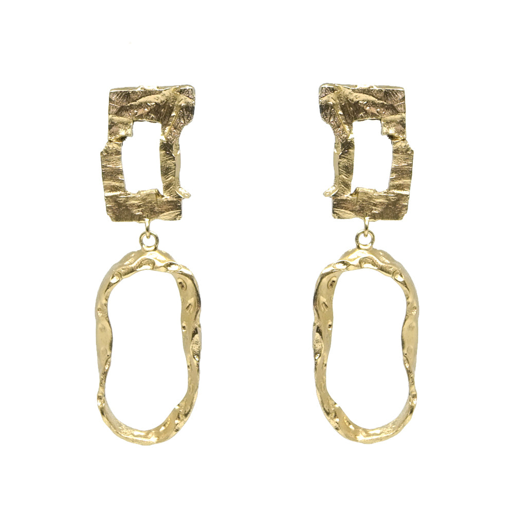 RECTANGULAR LINK AND CIRCLE EARRING