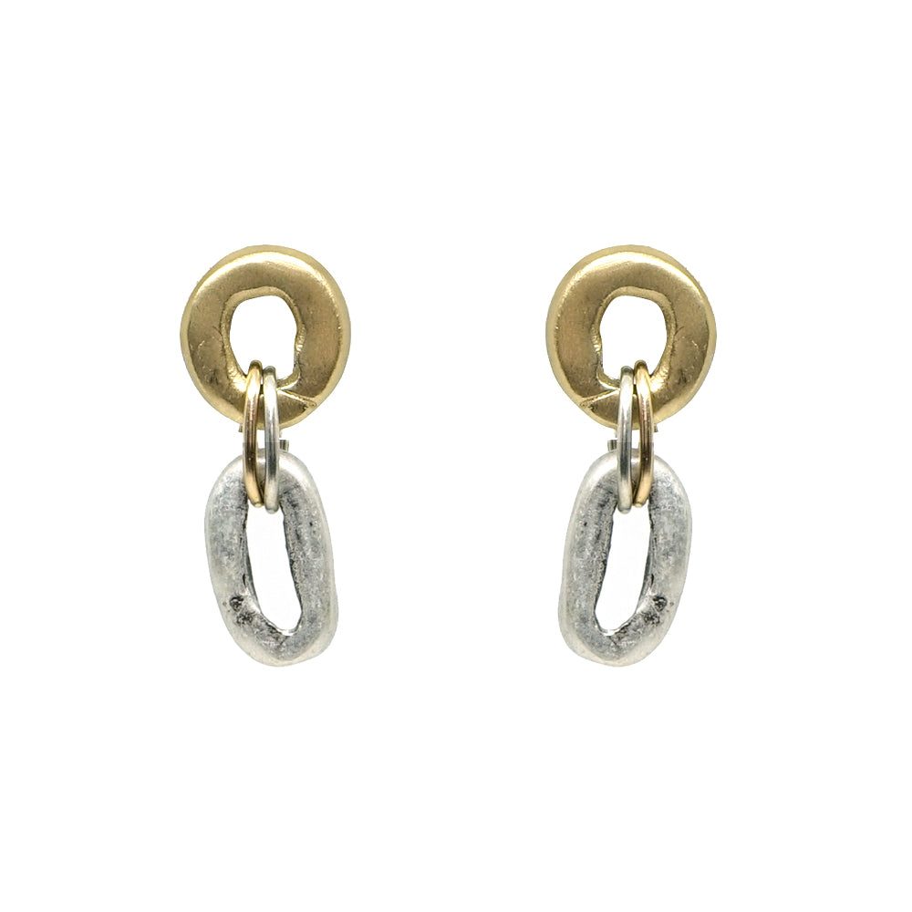 TWO TONE MINI LINK EARRING