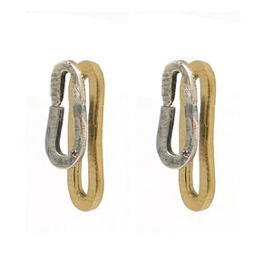 TWO TONE FRONT TO BACK SAFETY PIN EARRINGS