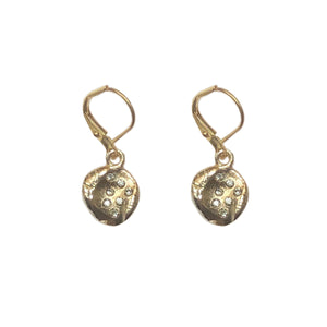 GOLD ROUND CRYSTAL IMPRESSION EARRINGS