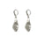 VINTAGE SILVER TEAR DROP CRYSTAL IMPRESSION EARRINGS
