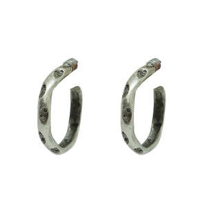 "VINTAGE SILVER THIN 1.5"" IMPRESSION HOOPS"
