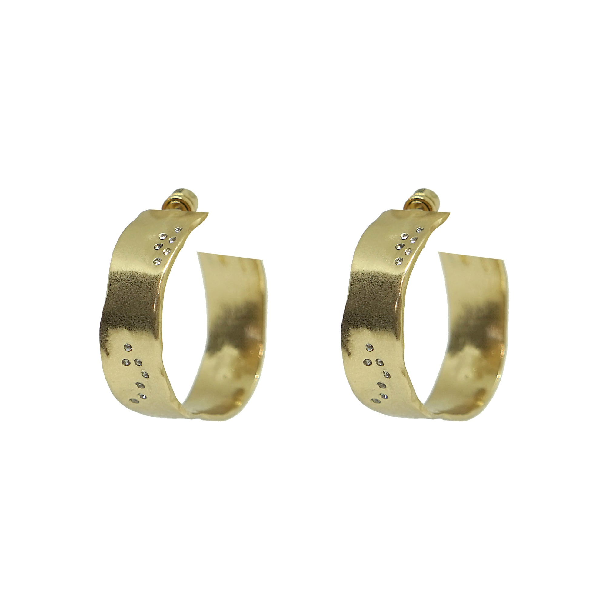 "GOLD WIDE 1.5"" IMPRESSION HOOPS"