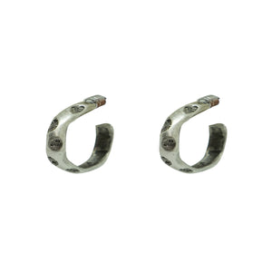 "VINTAGE SILVER THIN 1"" IMPRESSION HOOPS"