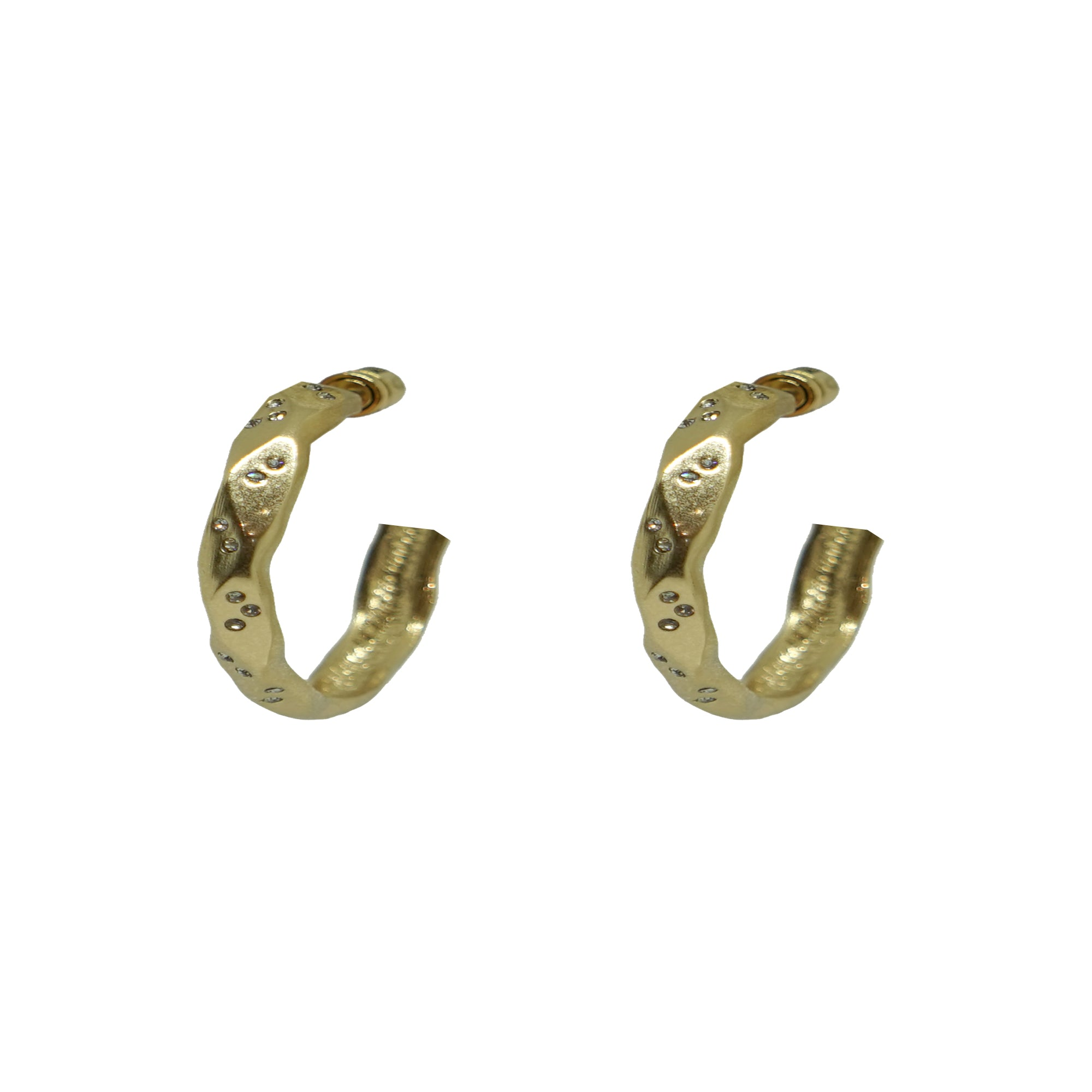 "GOLD THIN WAVE 1"" IMPRESSION HOOPS"