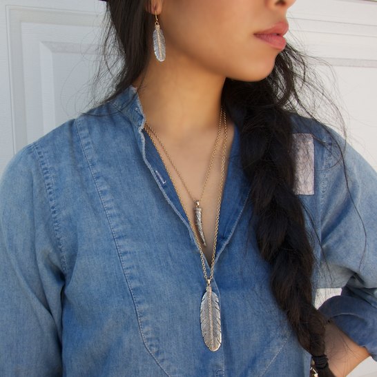 VINTAGE SILVER CASBAH FEATHER NECKLACE
