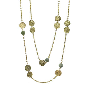 GOLD & LABRADORITE MULTI-COIN NECKLACE