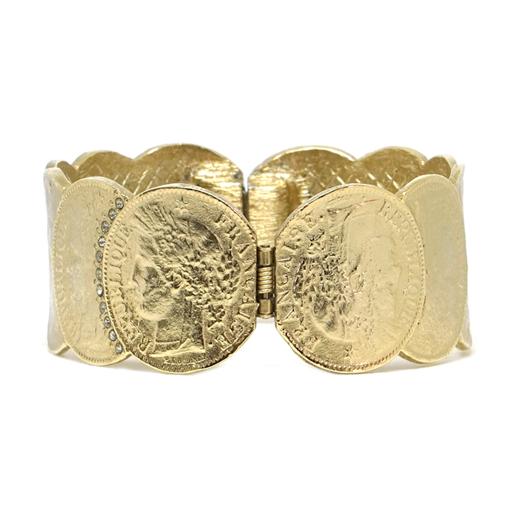 GOLD REPUBLIQUE COIN SCALLOPED BANGLE