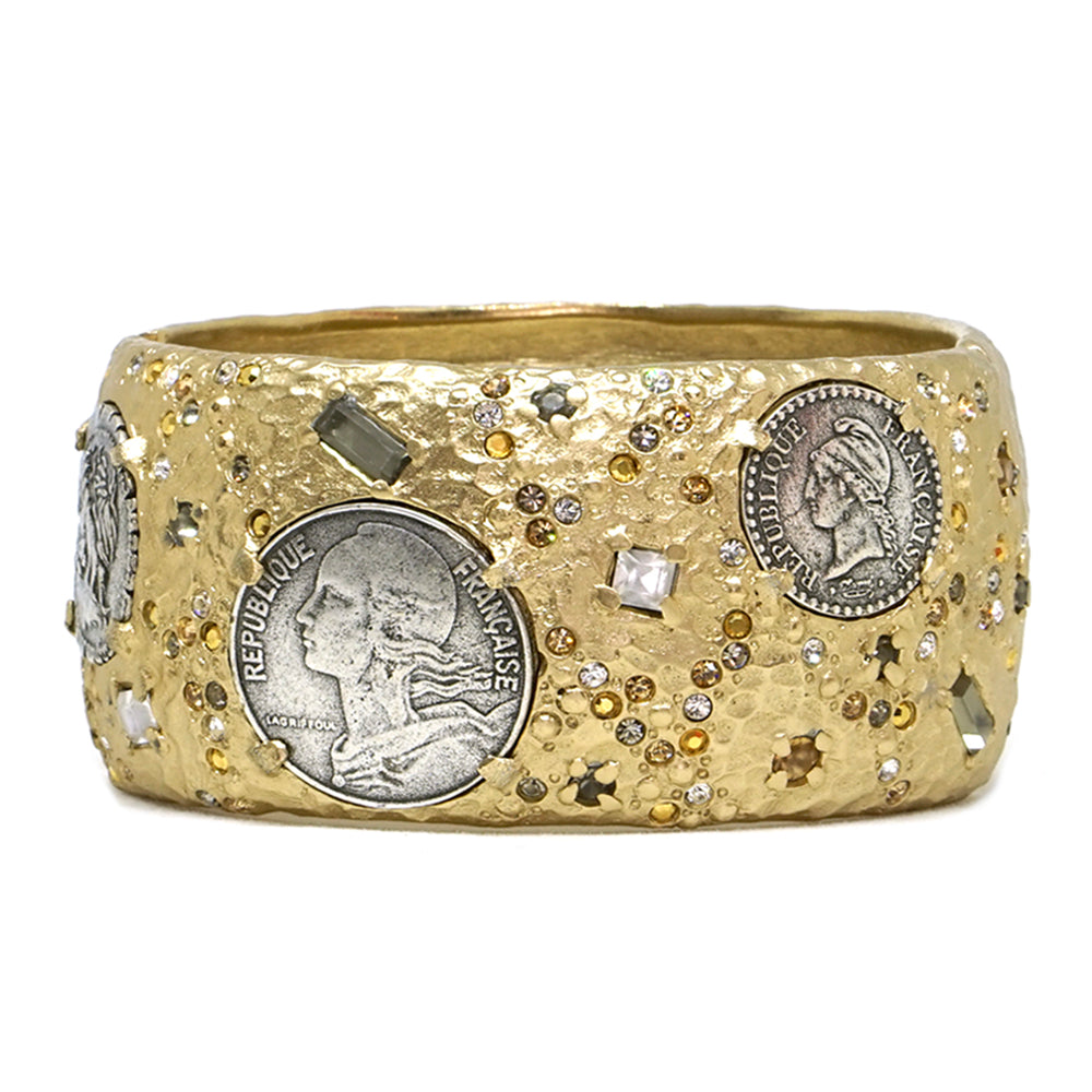 d64534c3a GOLD & VINTAGE SILVER COIN THICK BANGLE