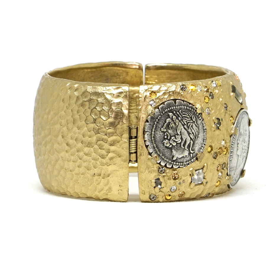 GOLD & VINTAGE SILVER COIN THICK BANGLE
