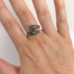 BLACK RHODIUM BIDI DIAMOND SPIKE RING