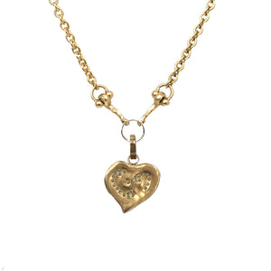 LARGE GOLD IMPRESSION HEART CHARM