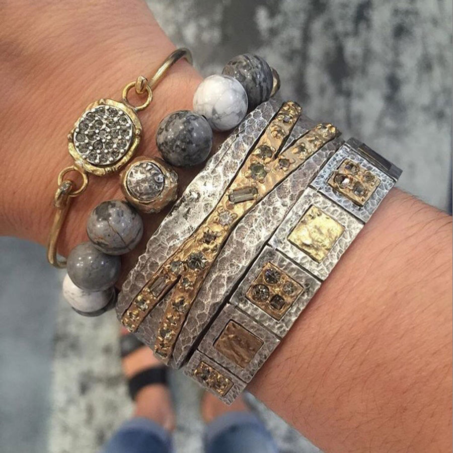 GOLD CERA CRAZY LACE & HOWLITE STRETCH BRACELET