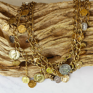 GOLD 3 TIER ROMAN COIN NECKLACE