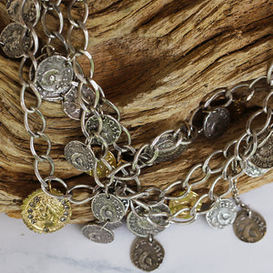 VINTAGE SILVER 3 TIER ROMAN COIN NECKLACE