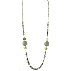 TWO TONE COIN AND SILVER BEAD NECKLACE