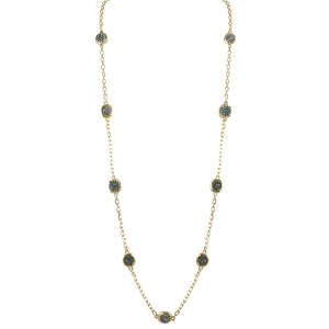 GOLD PAVIA PAVÉ & COIN FRAME STATION NECKLACE