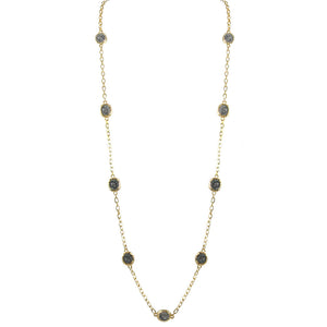 GOLD PAVIA COIN & FRAME LONG NECKLACE
