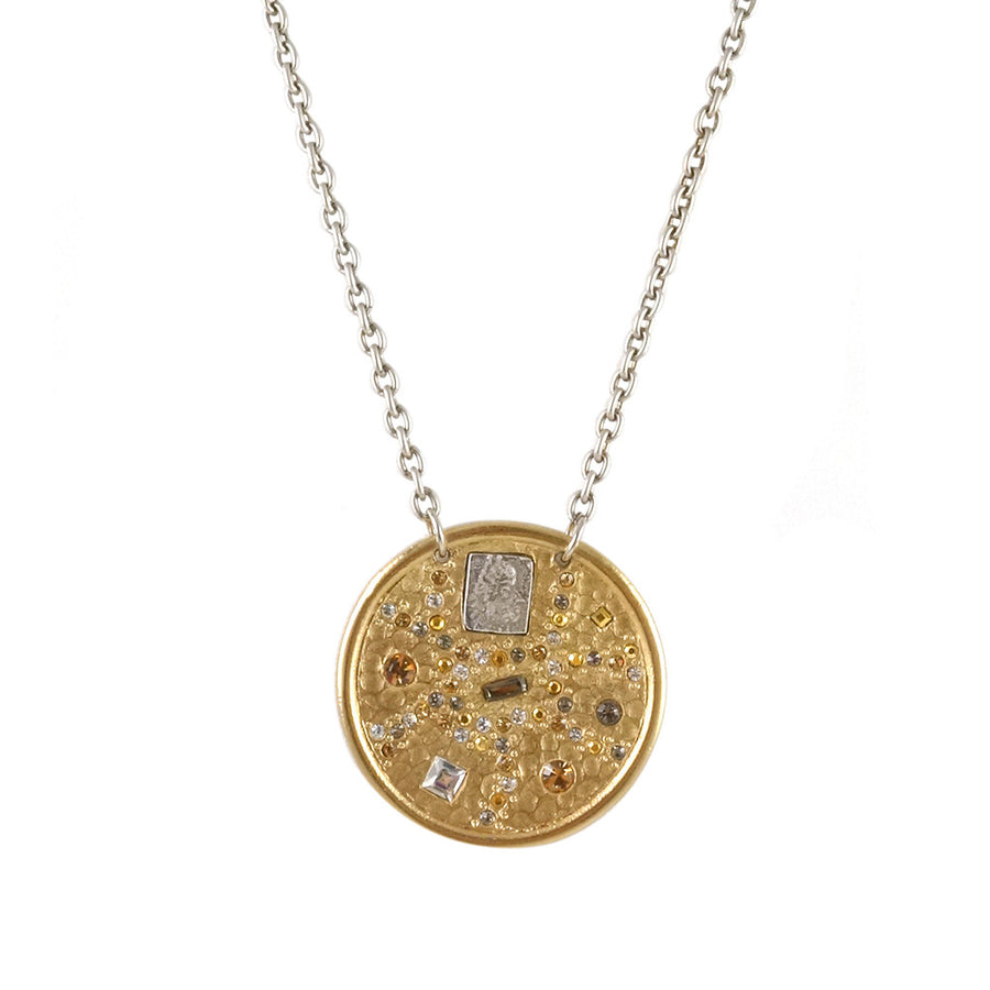SIENA GOLD HAMMERED ROUND NECKLACE