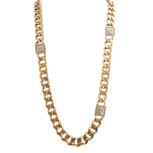 GOLD KHALIFA ROMAN MAN CURB CHAIN LONG NECKLACE