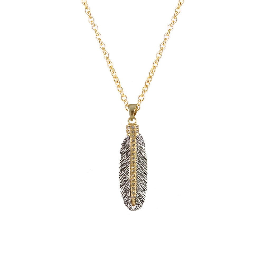 VINTAGE SILVER CASBAH MINI FEATHER NECKLACE