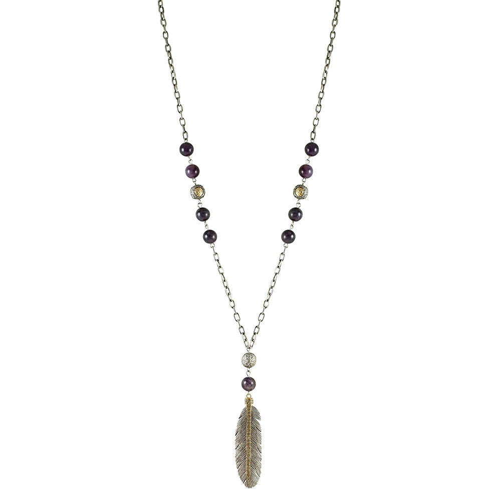 VINTAGE SILVER MANILA AMETHYST FEATHER NECKLACE