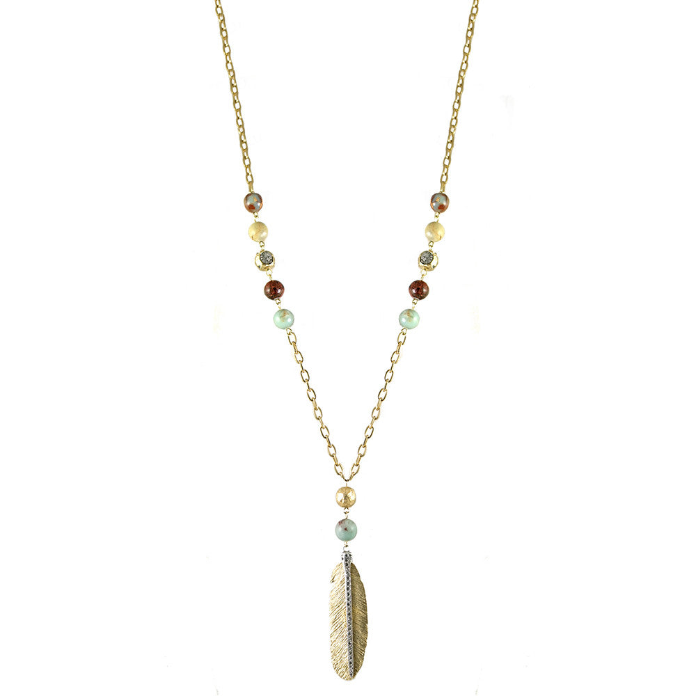 GOLD MANILA BLUE OPAL FEATHER NECKLACE