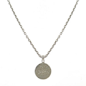 VINTAGE SILVER MENS ESPANA COIN NECKLACE