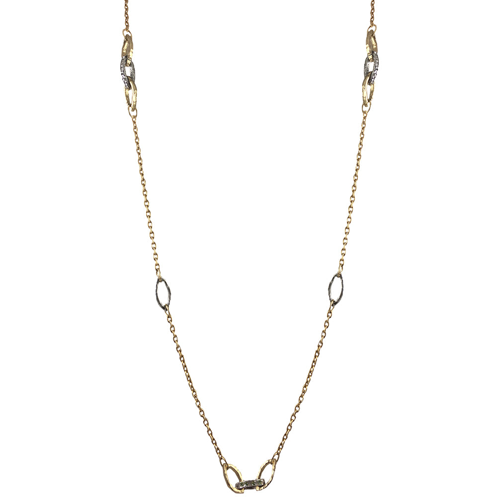 GOLD RINKU LINK LONG STATION NECKLACE