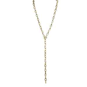 GOLD & VINTAGE SILVER RINKU LINK LONG NECKLACE