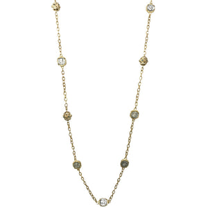 GOLD LABRADORITE BELA BEAD & COIN LONG STATION NECKLACE