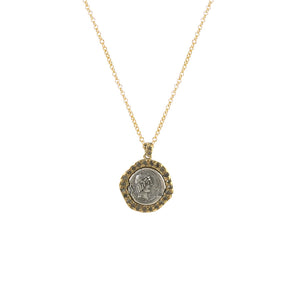 GOLD CALPURNIUS COIN & BLACK DIAMOND NECKLACE