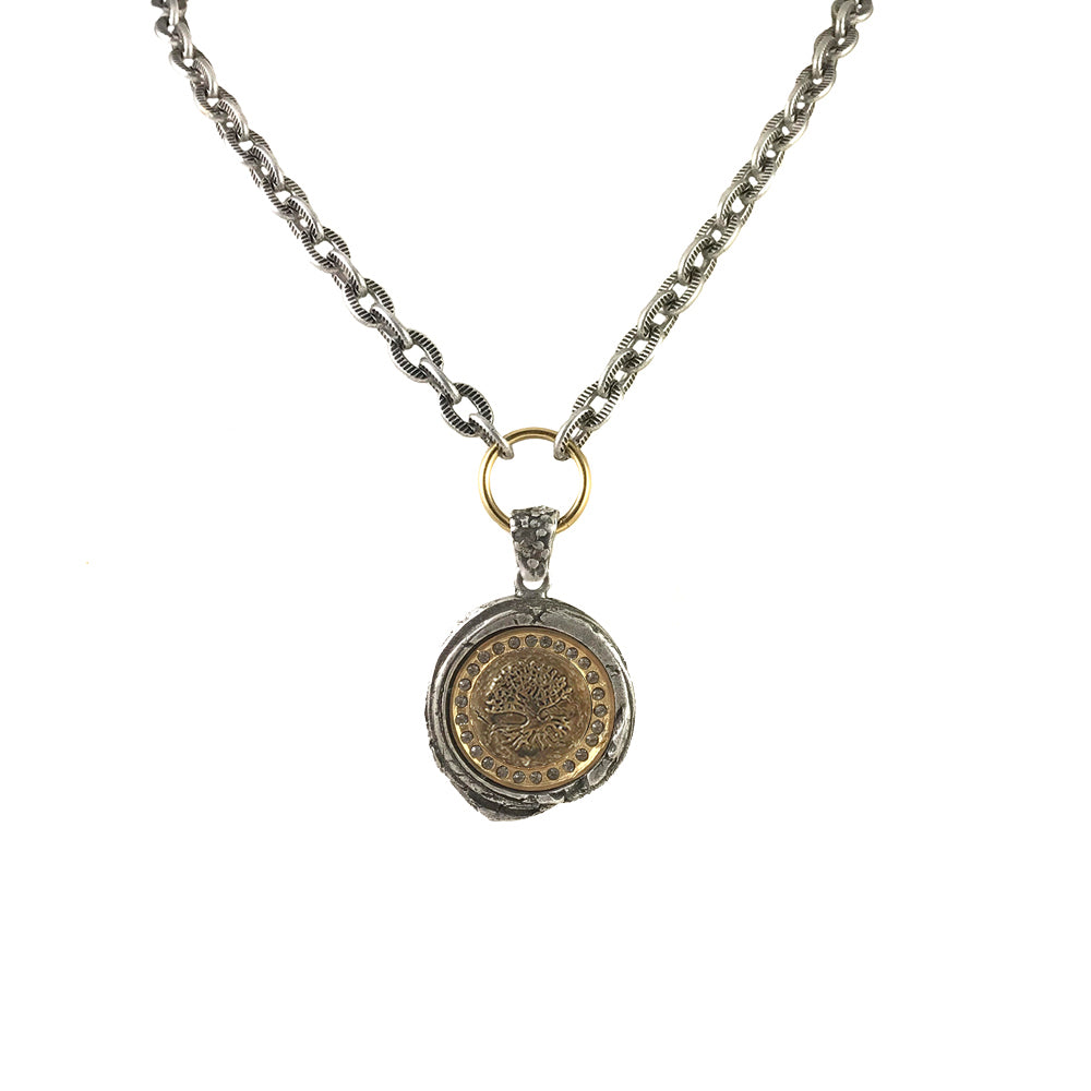 VINTAGE SILVER GUNA WAX SEAL NECKLACE
