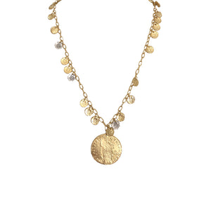GOLD APOLLONIA & COIN MULTI COIN NECKLACE