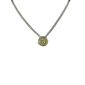 VINTAGE SILVER COIN CURB CHAIN NECKLACE