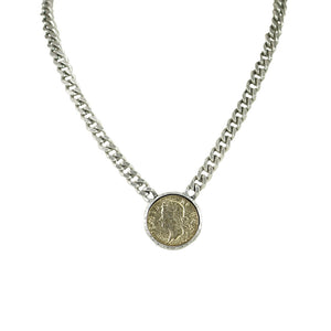 VINTAGE SILVER GEORGE II CURB CHAIN NECKLACE