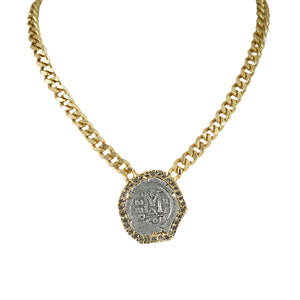 GOLD MOLAT CRYSTAL BEZEL NECKLACE